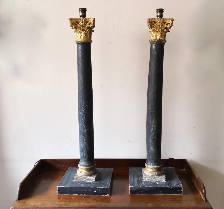 A monumental pair of corinthian column lamps