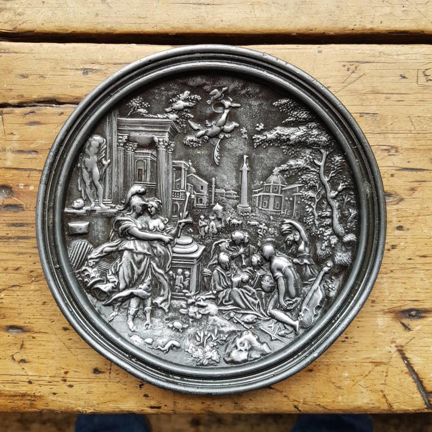 Classical metal plaque