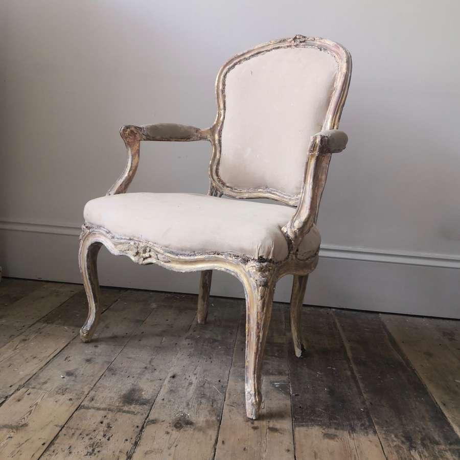 Gilt wood open armchair