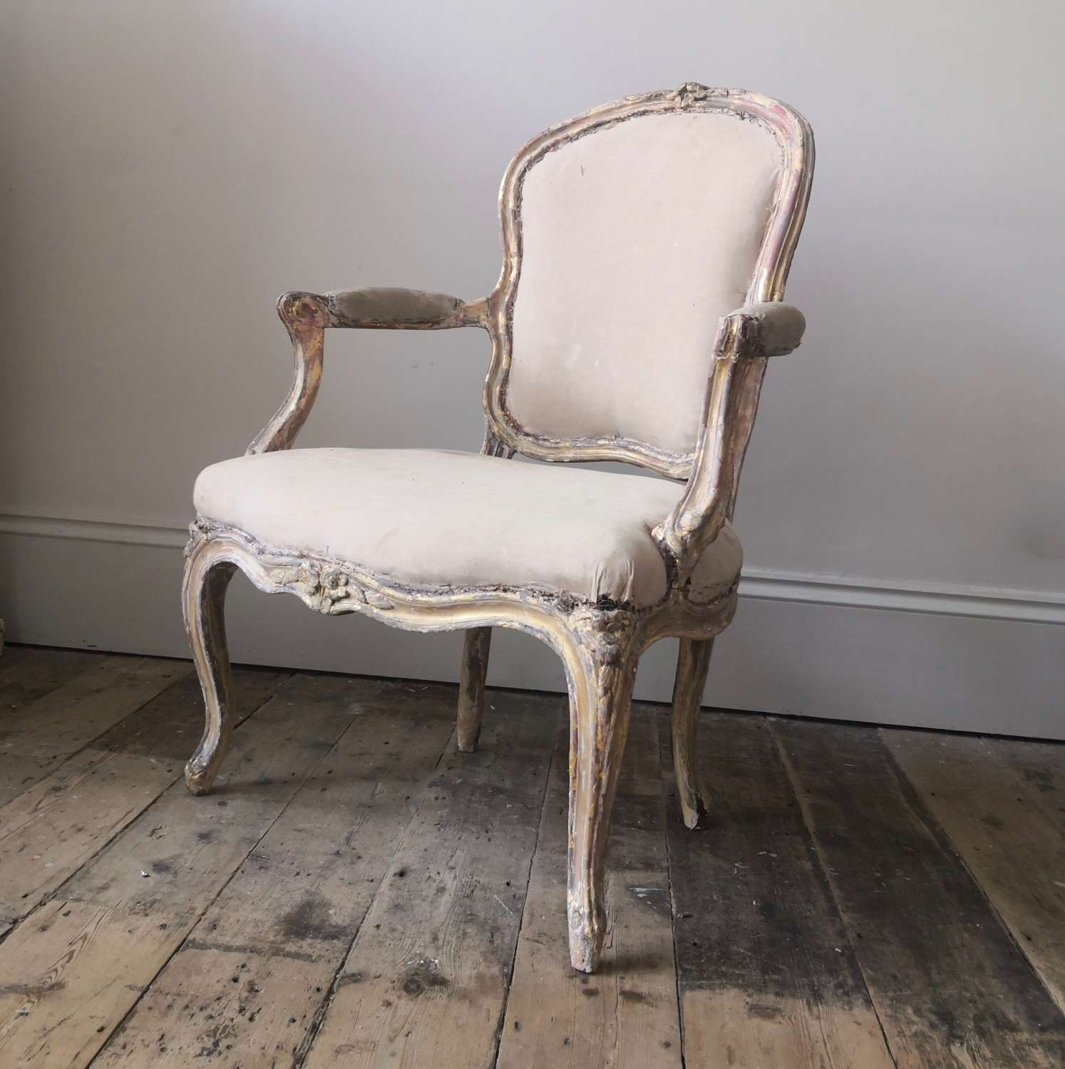 Gilt wood open armchair