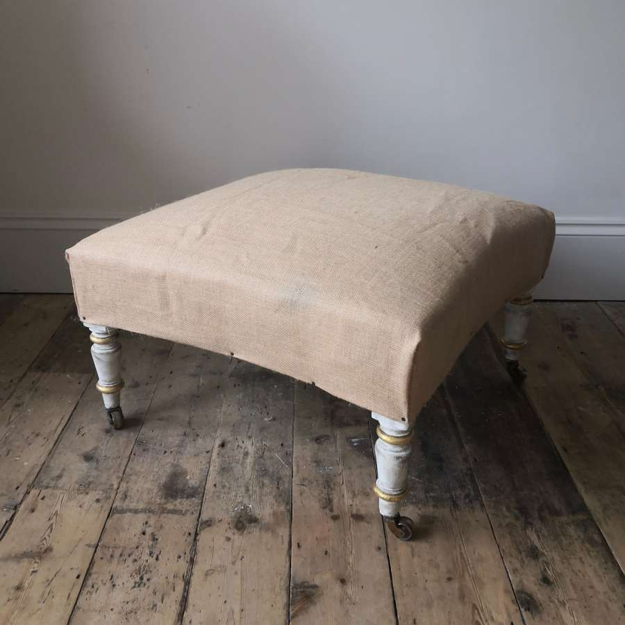 Large 19th century gilt and painted stool