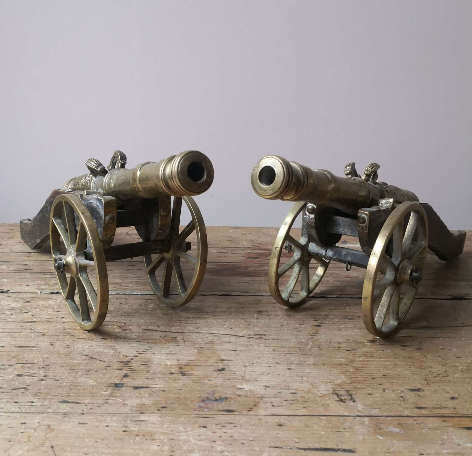 A pair of desk cannons