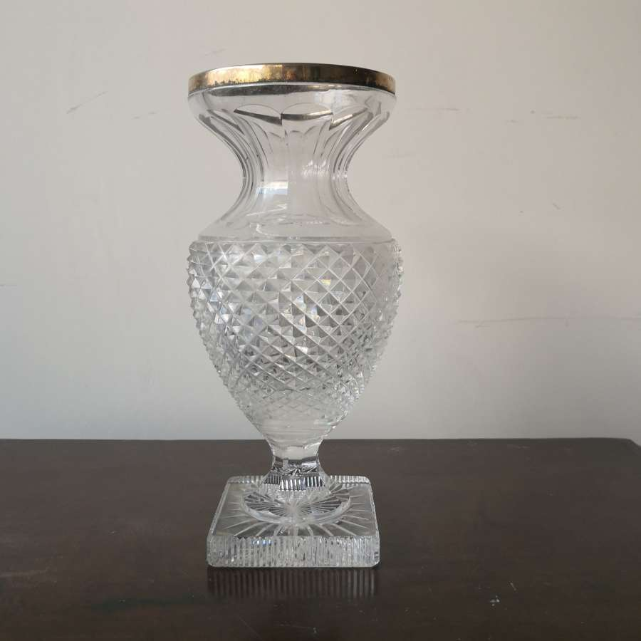 19th century cut glass vase
