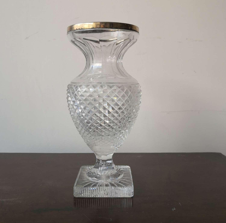 19th century cut glass vase