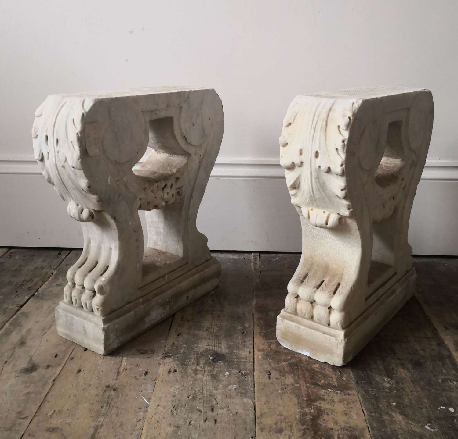 A pair of 18th century Irish bench ends
