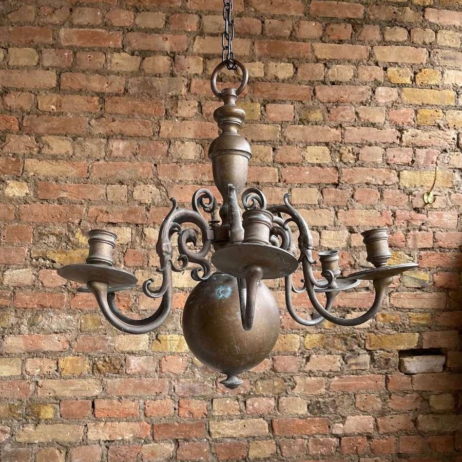 Brass 17th century style chandelier